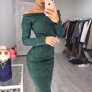 New! Hunter Green Suede Off Shoulder Midi Dress